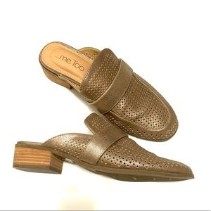 ME TOO Jacee Gold Leather Metallic Mules